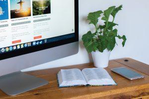 Digital church - computer, phone and bible